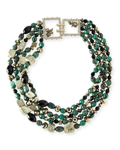 Chunky Beaded Statement Necklace, Green