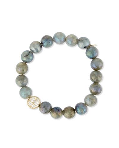 Mystic Labradorite Bead Bracelet w/ 14K Gold Diamond Sphere Bead