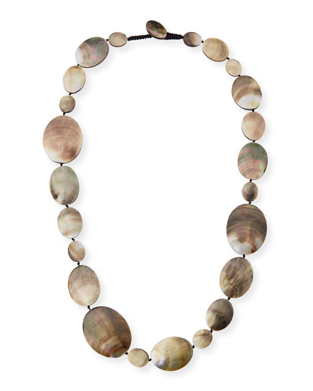 """Long Shell Disc Necklace, 44"""""""
