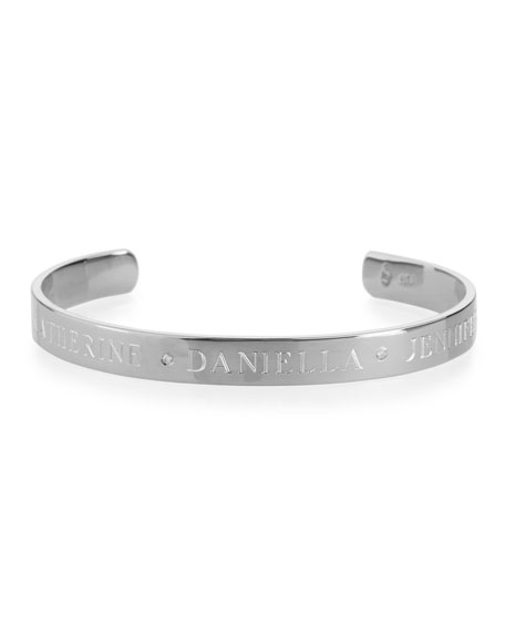 Image 2 of 2: Sarah Chloe 6mm Ciela Trio Name Cuff Bracelet with Diamonds