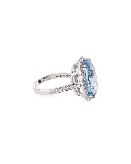 Fantasia by DeSerio Oval Aqua Cubic Zirconia Ring