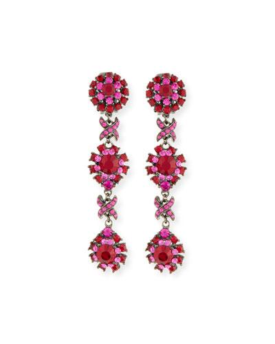 Linear Link Crystal Drop Earrings, Red