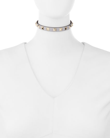 Small Rockstud Leather Choker Necklace