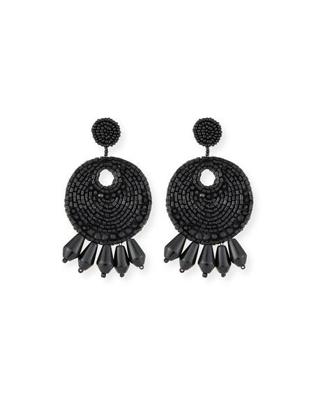 Kenneth Jay Lane Beaded Hoop Drop Earrings, Black