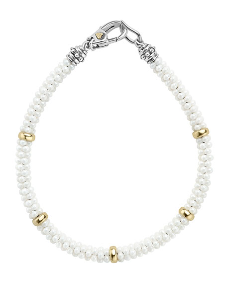 Lagos 5mm 18K White Gold & Ceramic Caviar Bracelet pCgM4IYd
