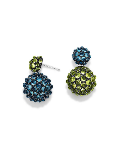 David Yurman Osetra Double-Drop Topaz & Peridot Earrings
