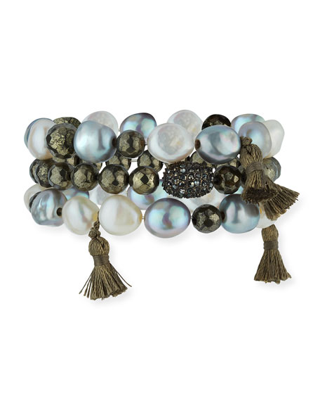 Hipchik Alexandra Stacked Pearly Beaded Bracelet Set