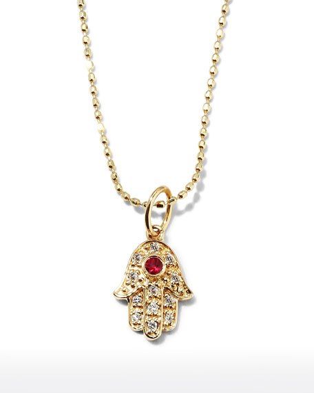 Image 1 of 2: Sydney Evan 14k Gold Diamond Hamsa Pendant Necklace