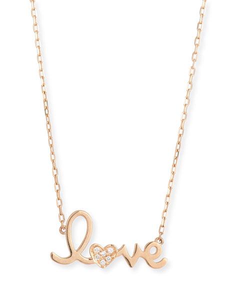 "Sydney Evan 14k Gold Diamond ""Love"" Necklace"