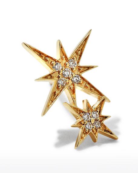 14k Pave Diamond Double Starburst Stud Earring