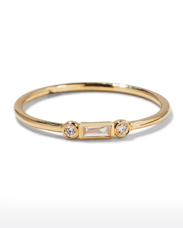 14k Baguette Diamond Stacking Ring by Sydney Evan