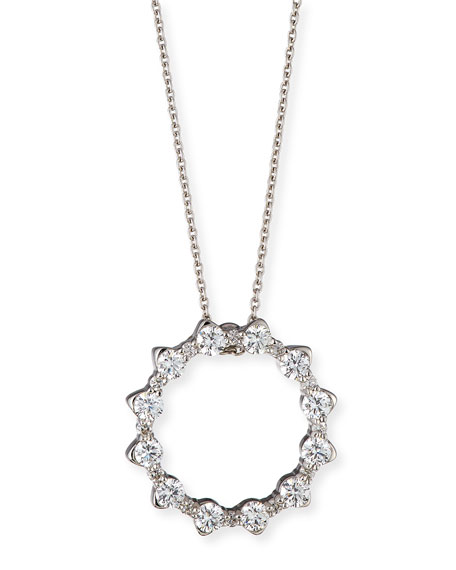 Roberto Coin Alternating Diamond Circle Pendant Necklace in