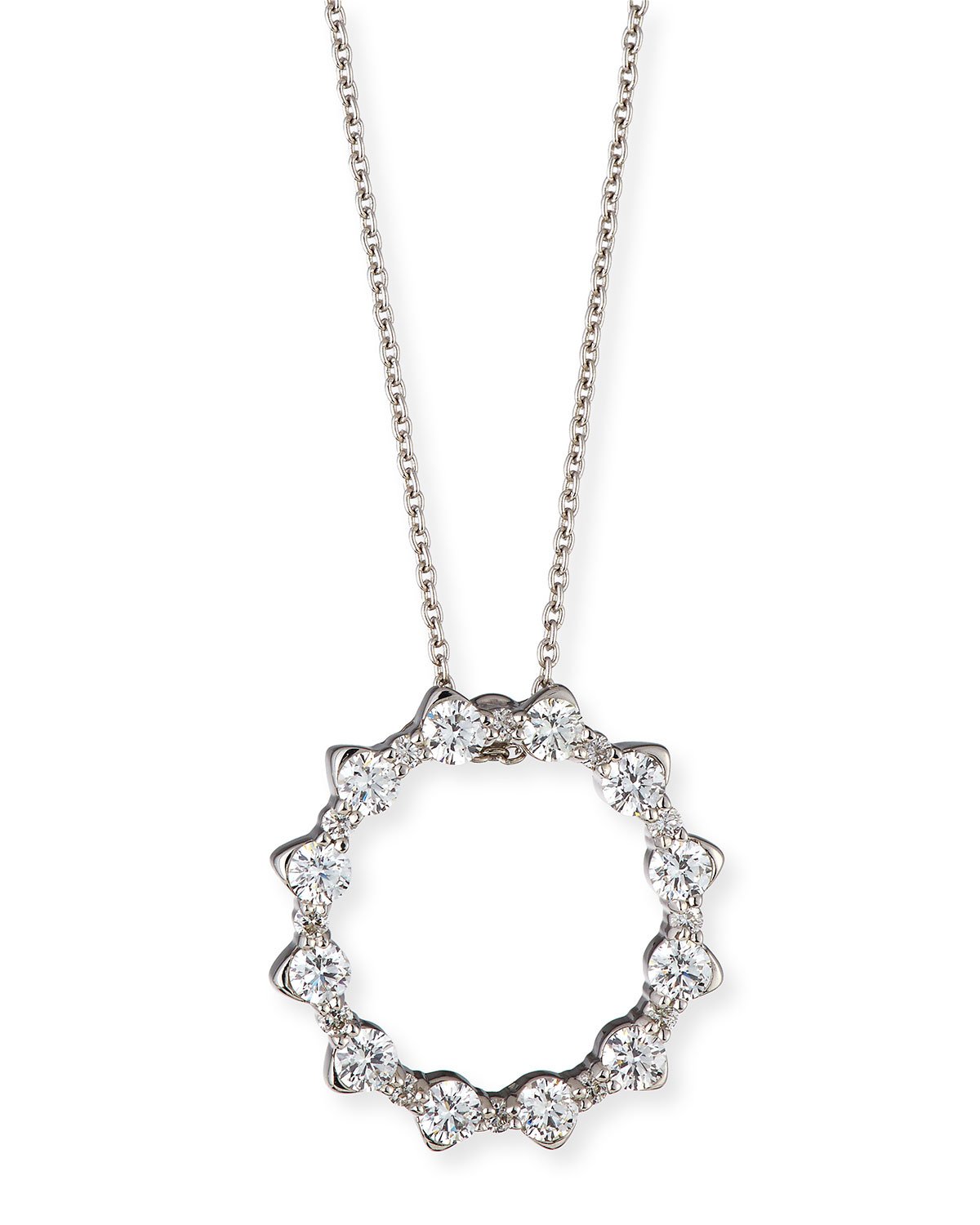 Gold circle necklace neiman marcus quick look roberto coin alternating diamond circle pendant necklace in 18k white gold aloadofball Gallery