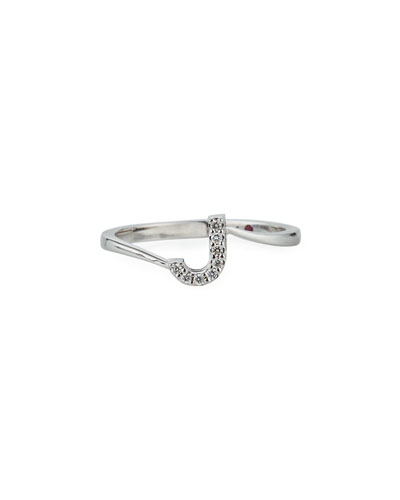 Diamond Letter Ring in 18K White Gold