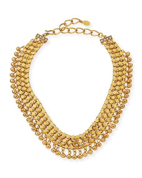 Sequin Golden Mesh Statement Choker Necklace