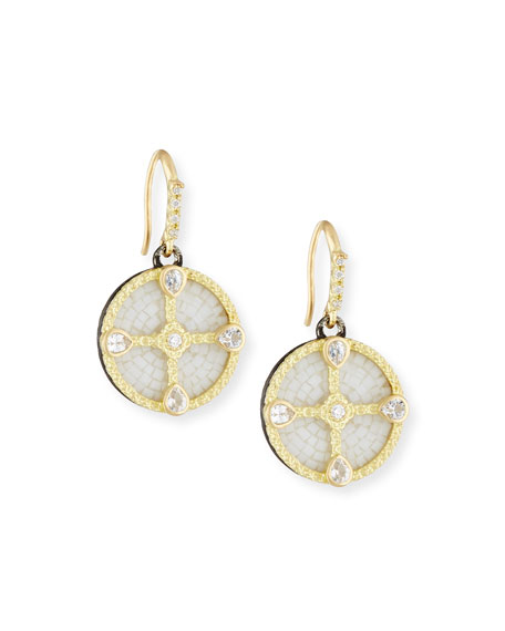 Armenta Old World Mosaic Shield Earrings with Diamonds
