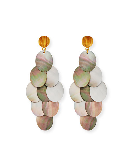Mother-of-Pearl Cluster Drop Earrings