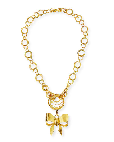 24K Gold-Plated Bow Pendant Necklace