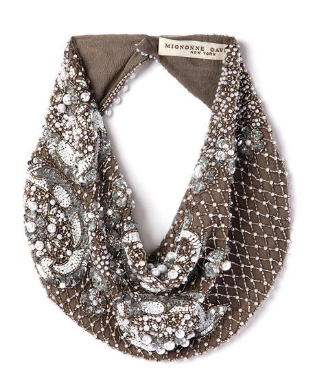 Mignonne Gavigan Le Charlot Beaded Scarf Necklace, Gray