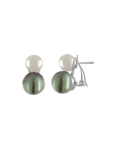 White & Gray Double-Drop Earrings