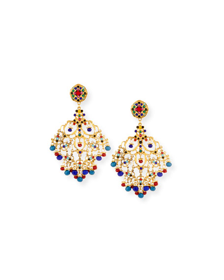 Image 1 of 3: Beaded Filigree Chandelier Clip-On Earrings