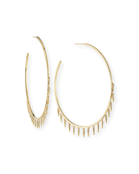 Sydney Evan Large Gold Fringe Drop Hoop Earrings with Diamonds