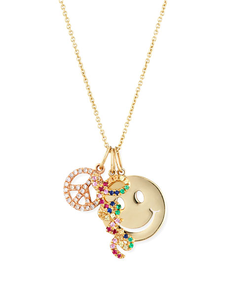 Peace, Love & Happiness Charm Necklace with Diamonds & Sapphires