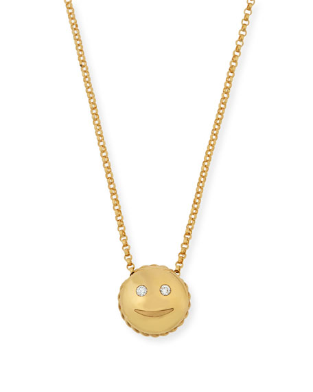 Tiny Treasures Smiley Emoji Pendant Necklace with Diamonds
