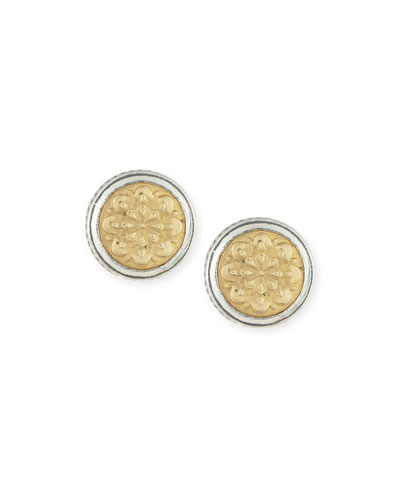 Sterling Silver & Embossed 18K Button Earrings