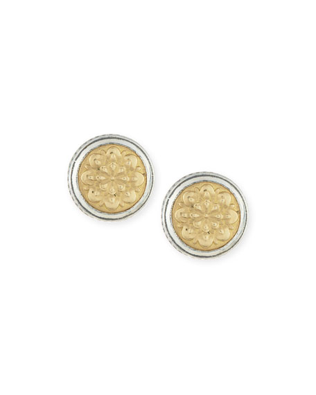 Sterling Silver & Embossed 18K Button Earrings