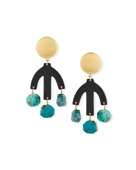 Black Horn & Chrysocolla Drop Earrings