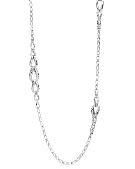 Bamboo Pearl Link Station Necklace, 36""