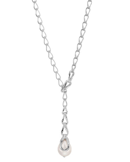 John Hardy Bamboo Y-Drop Pearl Necklace