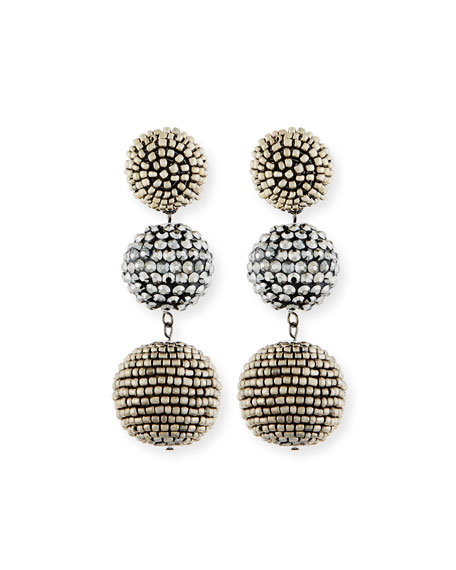 Kenneth Jay Lane Beaded Gunmetal Triple-Drop Earrings