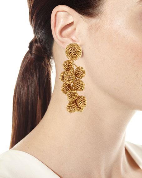 Coconut Beaded Clip Earrings