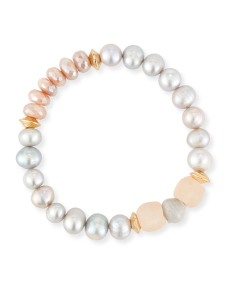 Akola Vail Pearly Pink Beaded Bracelet