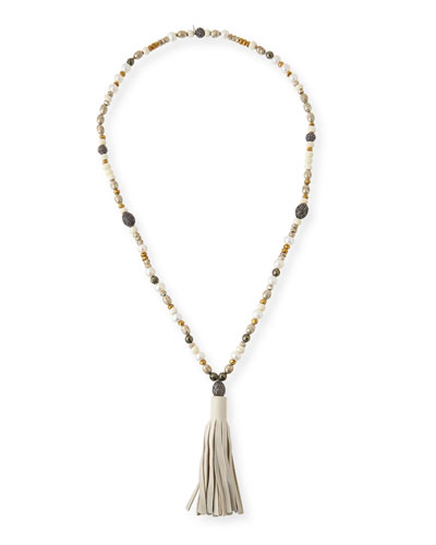 Capri Beaded Leather Tassel Necklace