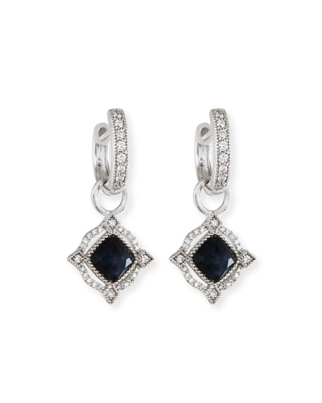 Lisse 18K Delicate Cushion Blue Labradorite Earring Charms with Diamonds