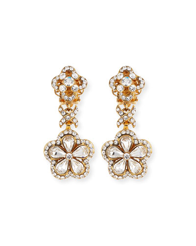 Crystal Flower Drop Clip-On Earrings