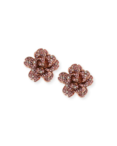Crystal Rose Clip-On Earrings