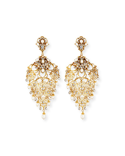 Golden Crystal Chandelier Clip-On Earrings