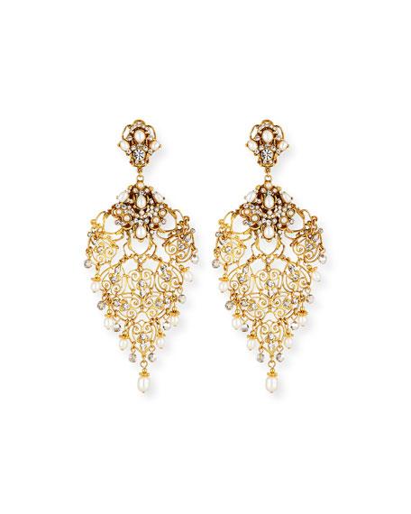 Jose & Maria Barrera Golden Crystal Chandelier Clip-On