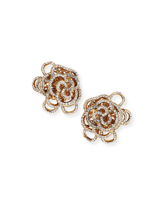 Jose & Maria Barrera Crystal Flower Clip-On Earrings ...