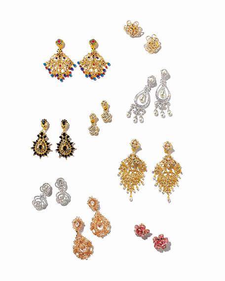 Jose & Maria Barrera Pearly Crystal Chandelier Clip-On Earrings