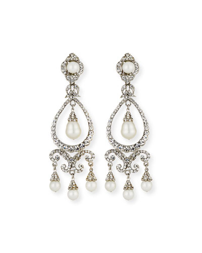 Pearly Crystal Chandelier Clip-On Earrings