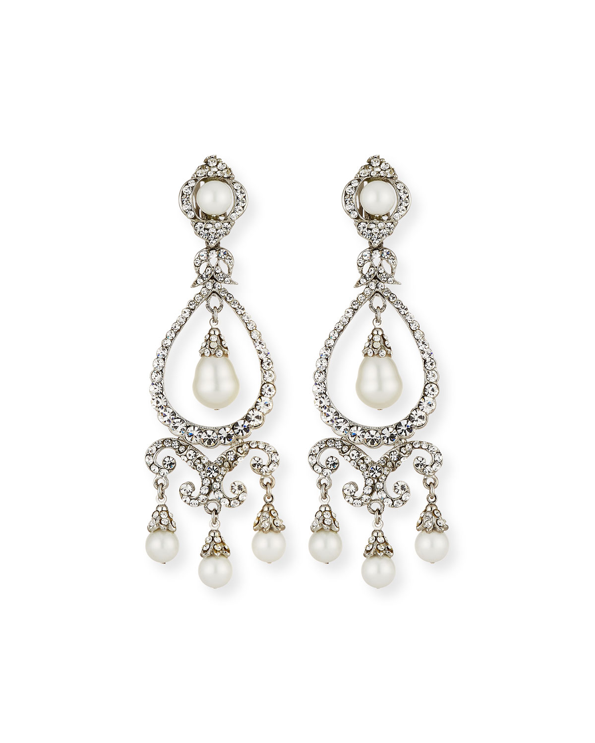 Jose & Maria Barrera Pearly Crystal Chandelier Clip-On ...