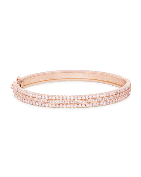 Image 1 of 2: Jamie Wolf Hinged Scalloped White Diamond Bracelet in 18K Rose Gold