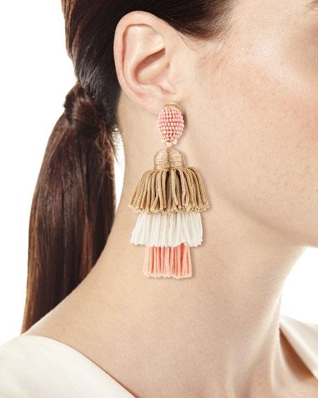 Long Tiered Silk Tassel Clip-On Earrings, Pink