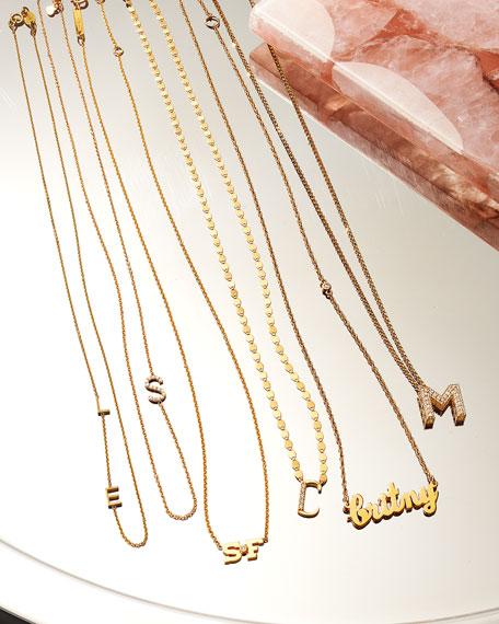 Zoe Lev Jewelry Personalized Asymmetric Diamond Initial Necklace in 14K Yellow Gold