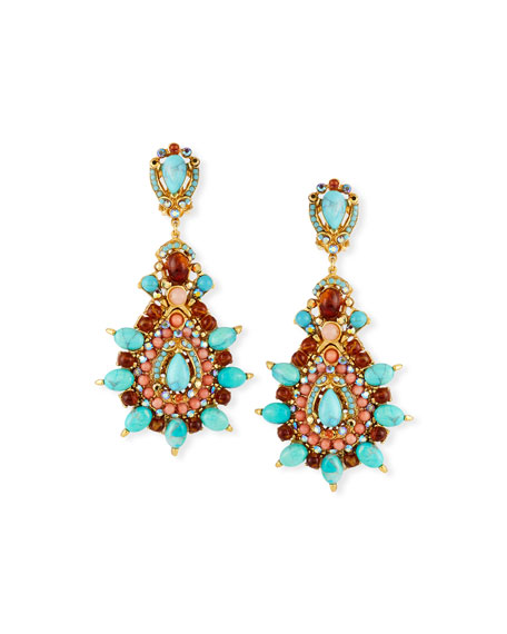 Jose & Maria Barrera Pink Opal Cabochon Hoop Drop Clip-On Earrings